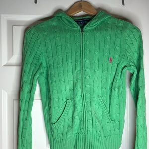 Ralph Lauren hooded cable knit sweater